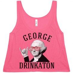 drunk george washington womens USA crop top tank top