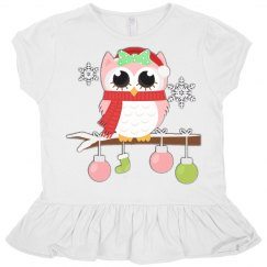 Winter Owl Pink Toddlers Ruffle T-Shirt