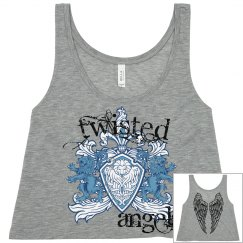 Twisted Angels White Tank