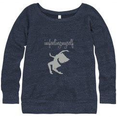 I'm Feeling Myself Silver and Blue Wide Neck Sweatshirt