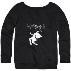 I'm Feeling Myself White and Black Wide Neck Sweatshirt