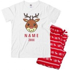 Kids Reindeer Custom Name PJ