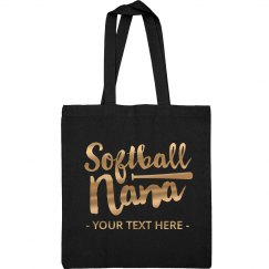 Metallic Custom Softball Nana Tote