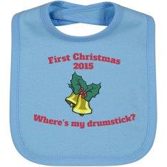 1st Christmas Bib - Blue