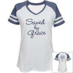 Saved by Grace V-neck Tee