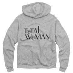 Total Woman Logo Hoodie - black on light grey
