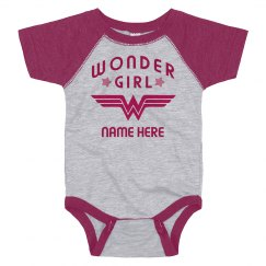 Custom Wonder Girl Raglan Bodysuit