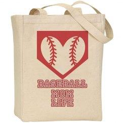 Baseball Mom Life Canvas Bag
