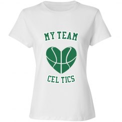 My team cel tics shirt white