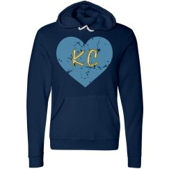 IHeartKC Hoodie - navy/lt blue - ultrasoft - distressed