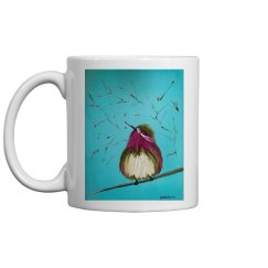 Purple bird with teal background (white mug)