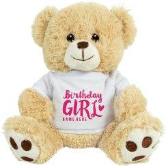 Custom Birthday Girl Bear
