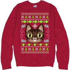 Cat Ugly Sweater Red