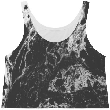 Dark Marble Print Fashion Crop