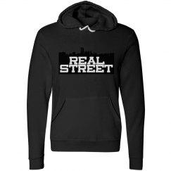 REAL STREET FLEECE HOODY-BLACK BACKGROUND
