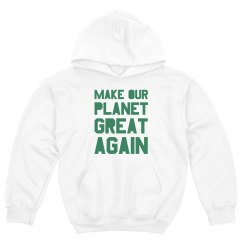 Make our planet great again green kids hoodie.