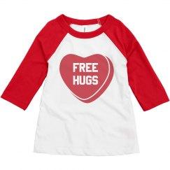 Free Hugs Toddler Valentine's Raglan