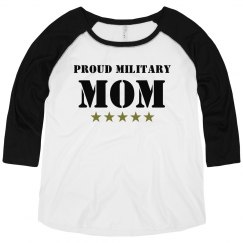 Proud Military Mom Plus Raglan