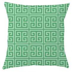 Green Greek Key Pattern Throw Pillow Cover
