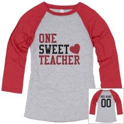Custom Name & Number Sweet Teacher Tee