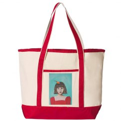 Girl with red dress and bird (teal background- tote)