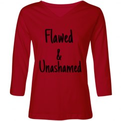 Flawed-Ladies Relaxed Fit V-Neck 3/4 Sleeve Tee-Pink