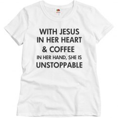 WITH JESUS IN HER HEART & COFFEE