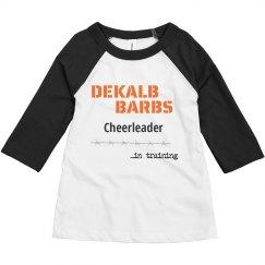 Toddler cheerleader in training