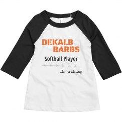 Toddler Softball player in training