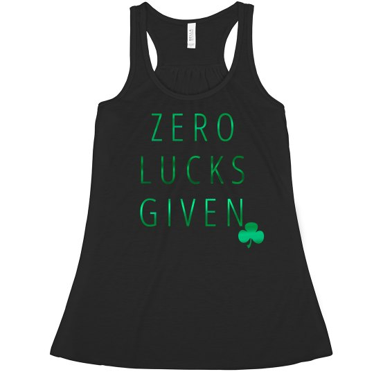 1dcbe1c7b Metallic Irish Zero Lucks Given Ladies Flowy Metallic Boxy Cropped Tank Top