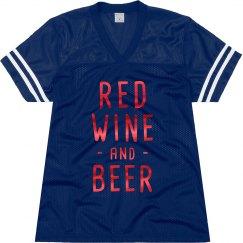 Red Metallic Red Wine Beer Football Jersey