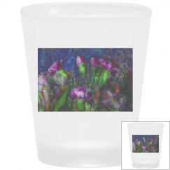 Abstract Pink Carnations Frosted Shot Glass
