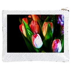 Abstract Pink Tulips Sequin Bag