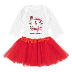 Merry & Bright Cute Custom Christmas Bodysuit with Tutu