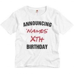 Announcing birthday