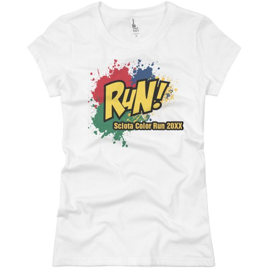 6b3ba114 Run Color Splat Ladies Slim Fit Basic Promo Jersey T-Shirt