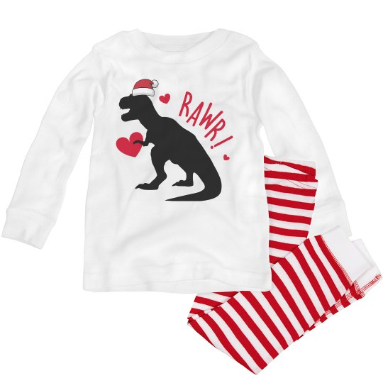 Dinosaur Christmas pajamas for toddlers