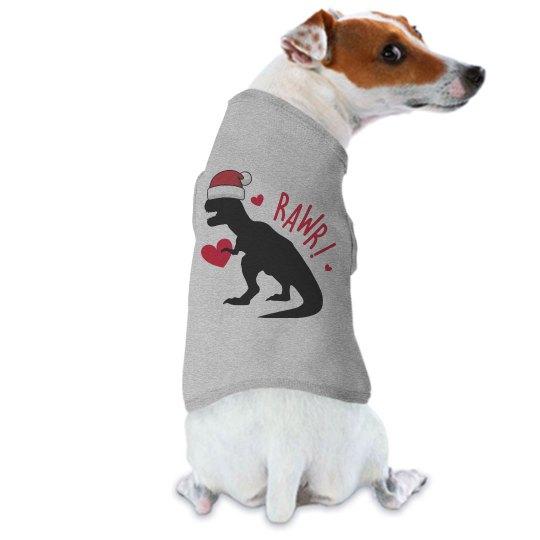 Dinosaur Christmas shirt for dogs