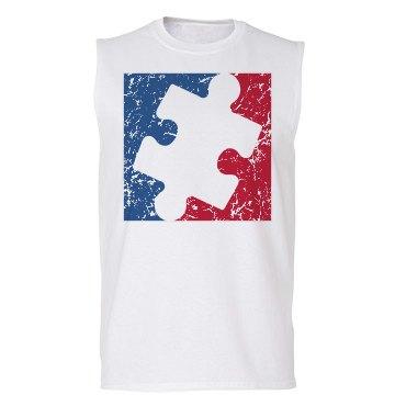 Distressed Major League AUTISM Logo Shirt (sleeveless)