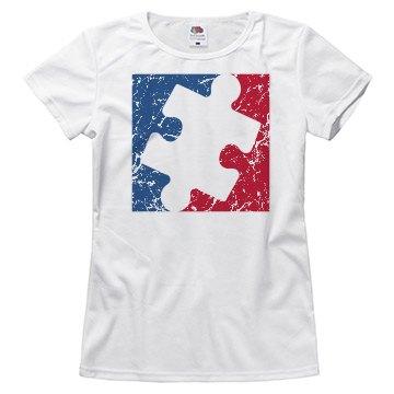 Distressed Women/Misses Major League AUTISM Logo Shirt