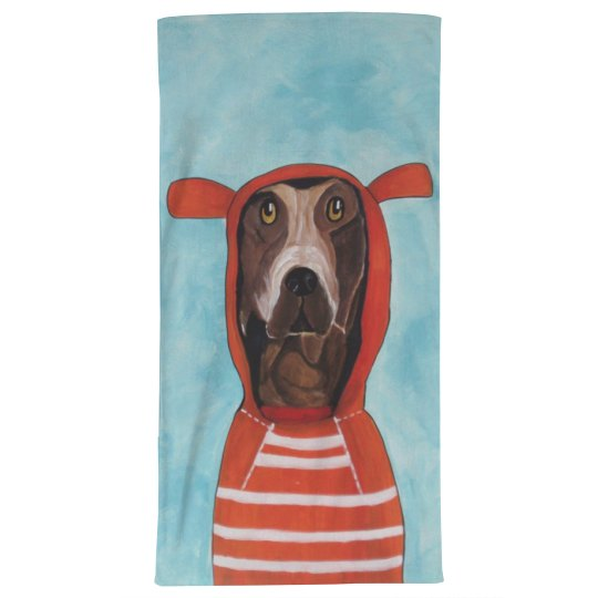 Dog with red hoodie (towel)