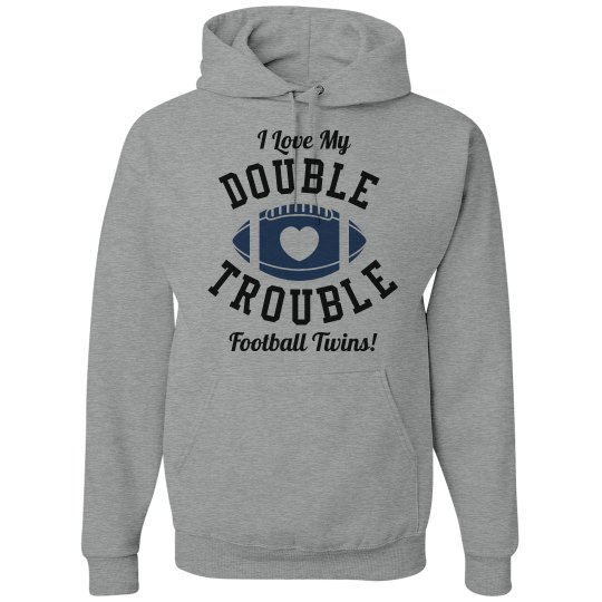 Double Trouble Football Mom of Twins Custom Hoodie