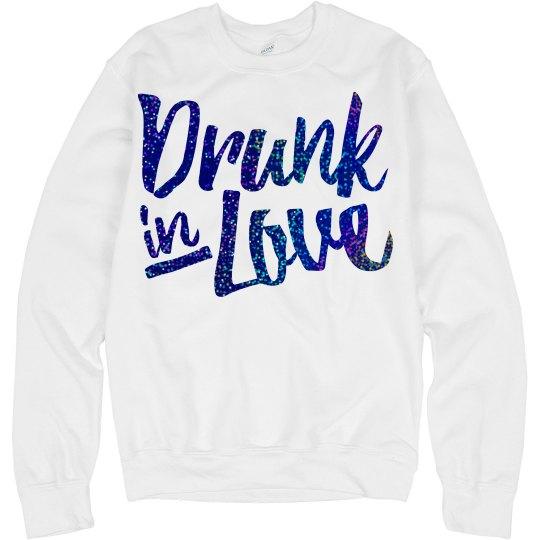 Drunk love blue glitter logo
