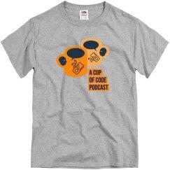 Mens Grey A Cup of Code Podcast Alt-Design T-Shirt
