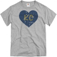 I Heart KC - light blue/navy - distressed
