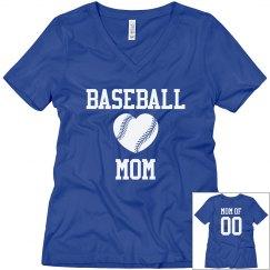 Baseball Mom Shirts With Custom Back Number