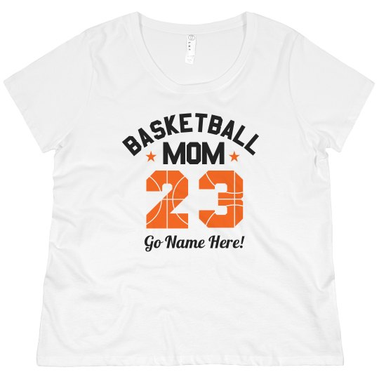 2855356f9 Basketball Mom Custom Name Number Promo Ladies Curvy Plus Size Scoopneck T- Shirt