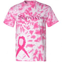 Survivor Tiedye Pink Ribbon Shirt