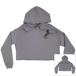 Unicorn crop hoodie gray
