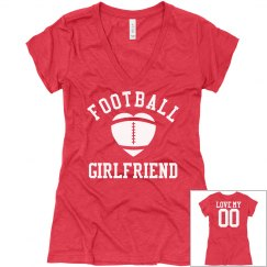 Cute Football Girlfriend V-Neck With Custom Back Text